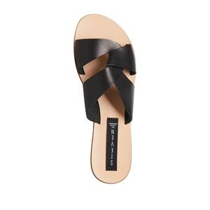 Steve Madden sandals black leather slip on 8.5